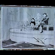 Auth Vintage Photo Glass Negative Children Fishing W/ 2 Elderly Fisherman 1900 - 40's