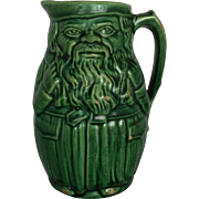 Vintage Antique Majolica Pitcher Green Figural Stunning Vintage Face Pitch Circa 1900