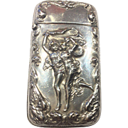 Vintage Match Safe or Vesta with Stricker Silverplate Man & Woman Running & Serpents Wonderful