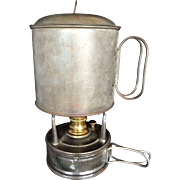 WW I Officier's Trench Camp Cooking Stove & Pot  Coal Oil Alcohol Fuel Burning