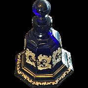 Antique Victorian Bohemian Moser Gilded Enamel  Very Deep Dark Cobalt Scent Perfume Bottle
