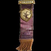 Vintage 1920's BPO of Reindeer BPOR, Benevolent Protective Order of Reindeer, Member Pin Ribbo