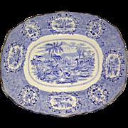 Antique Ridgway Oriental Blue & White Transferware 13 Inch Oval Serving Platter