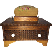 19th Cent Sewing Caddy Pin Cushion Dove Tailed Drawer Burled Walnut & Tiger Maple