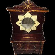 "19th C Miniature Child's Doll Mirrored Dresser Coin Bank Original Paint, 10"" Tall"