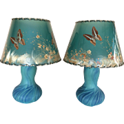 """Vintage Pair Van Briggle Pottery Lotus Lamps & Butterfly Shades Ming Blue 15"""" Tall"""