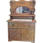 Very Nice Doll's Mirrored Golden Oak Buffet with Applied Wood Designs