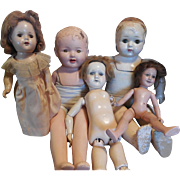 SOLD Five Composition Dolls for Parts, Repair, Deanna Durbin, Acme Toy. Mama Dolls