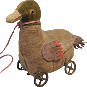 Steiff Duck Pull Toy on Metal Wheels