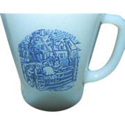 SALE Fire King Set of Six White Mugs with Blue Design