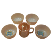 Fire King Peach Lustre  Mug and Four Custard Cups