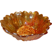 Indiana Glass Lily Pons Carnival Glass Amber Bowl