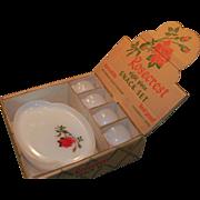 SALE Rosecrest  8  Piece Snack Set Federal Glass Original Box