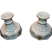 Westmoreland Paneled Milk Glass Grape Candle Holders