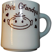 I Love Grandpa Milk Glass Mug Hazel Atlas