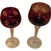 SOLD Crystal Wine Glass Pair with Grape Etchings