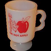 Milk Glass Pedestal Mug USA made with A Devil and a Apple