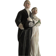 SALE Vintage Bride and Groom Wedding Cake Topper