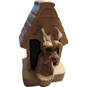 Chalk Ware Dog House Paper Weight