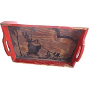 Vintage Wooden Tray Lady and Dog Silhouettes