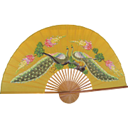 Chinese Hand Painted Peacock Fan Bamboo Frame