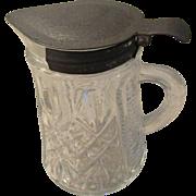 Vintage Syrup Jug Tin Lid Farm Item