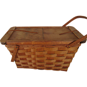 REDUCED Large Putney, Vermont Picnic Basket  With Plates and Utensils