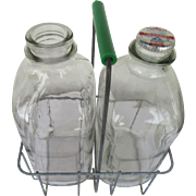 Wire Milk Bottle Carrier and Half Gallon Bottles 1940s to 1960s