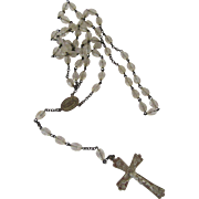 Sterling Silver & Clear Glass Faceted Beads USA Di Roma Rosary