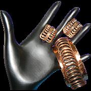 SALE Vintage 1950's RENOIR Copper Cuff Bracelet/Earrings Modernist Spiral