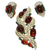 SALE Crown Trifari L' Orient Amber--Enamel Snake Brooch and Earrings by Alfred Philippe