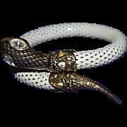 Ornate White Enamel Vintage Mesh Snake Wrap Bangle Bracelet Clear Rhinestone Eyes