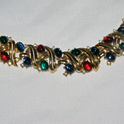 """SOLD Stunning Vintage Signed  CROWN """"TRIFARI""""--Jewels Of India Moghul Poured Glass C"""