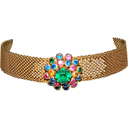 SALE Vintage HOBE' Style Mesh Choker Necklace With 3 Dimensional, Layered Rhinestone Center Pi