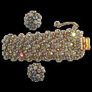 Incredibly Brilliant &Classy  Alice Caviness Aurora Borealis Wide Bracelet & Clip On Earrings