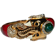 Gorgeous Signed CINER  Mogul Flawed Faux Emerald Cabochon, Vibrant Red Lacquered Enamel, and R