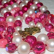 SALE PENDING Fabulous Vintage Signed EUGENE 2 Strand Pink Aurora Borealis Faceted Crystals, Fu