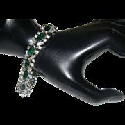 Vintage 1950's Crown Trifari Emerald Green Rhinestone Bracelet