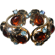 Vintage DeLizza & Elster Big & Bold Rhinestone Hinged Clamper Bracelet & Earrings BOOK PIECE!