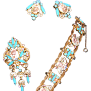 Vintage D&E Juliana Transfer Flower and Rhinestone Parure Bracelet, Brooch, & Earrings