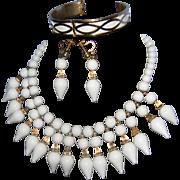 Vintage NAPIER Milk White  Lucite with Gilt Gold Tone Accents 2-Tier Dangle Bib Necklace ...