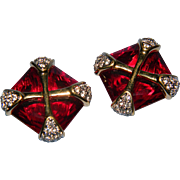 Exquisite Large Emerald Cut Ruby Red Swan Logo Paved Rhinestone Gold Tone Accents Maltese Cros