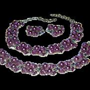 Vintage 3 Piece Signed Lisner Purple Faux Pearl, Peacock Color Rhinestone, and Enamel Parure N