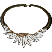 Stunning Vintage Trifari White/Cream Enamel  with Omega Chain Gold Tone Necklace