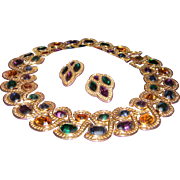 Vintage NAPIER Byzantium Rhinestone Cleopatra Collar Necklace & Byzantine Rhinestone Earrings.