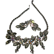"D&E Juliana HUGE Grey ""Black Diamond"" Rhinestone Demi Parure Necklace & Clip On Earr"