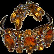 Juliana Gorgeous Huge Amber/Topaz Aurora Borealis Rhinestone Vintage Clamper Bracelet and Earr