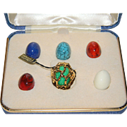 SALE PENDING Crown Trifari Signed Nugget Caged Dome Ring With Interchangeable Lucite Cabochons