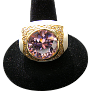 Vintage Signed NOIR Ring Huge Multi Faceted Pink Ice Rhinestone with Rich Creamy Off White Ena