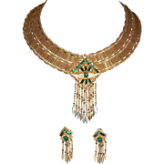 Vintage Signed RIFAS WIDE  Gold Tone Mesh Egyptian Revival/Cleopatra Dangle Collar and Dangle